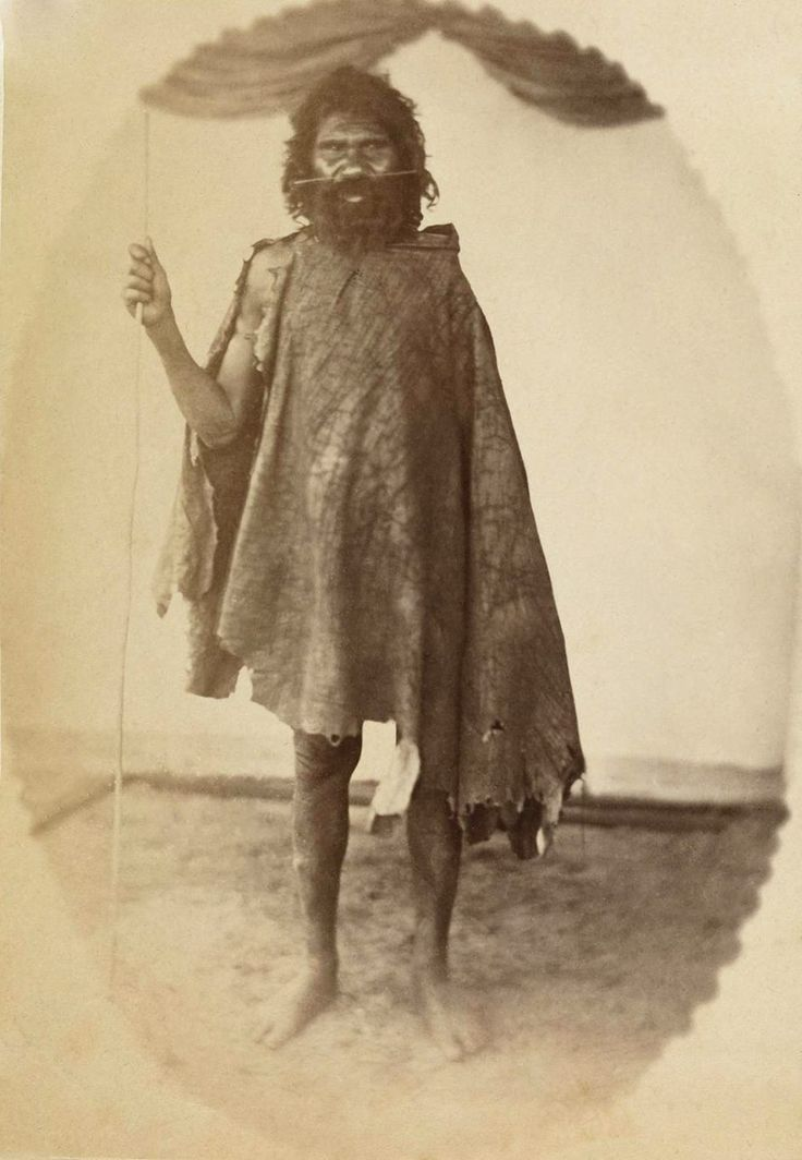 """It is a very early photo from the 1860s, possibly the oldest in existence, of an original Western Australian. Identified as """"Daakin"""", he is from around the Perth area, is dressed in kangaroo skins and wears a nose ornament. Photo credit: Alfred Hawes Stone."""