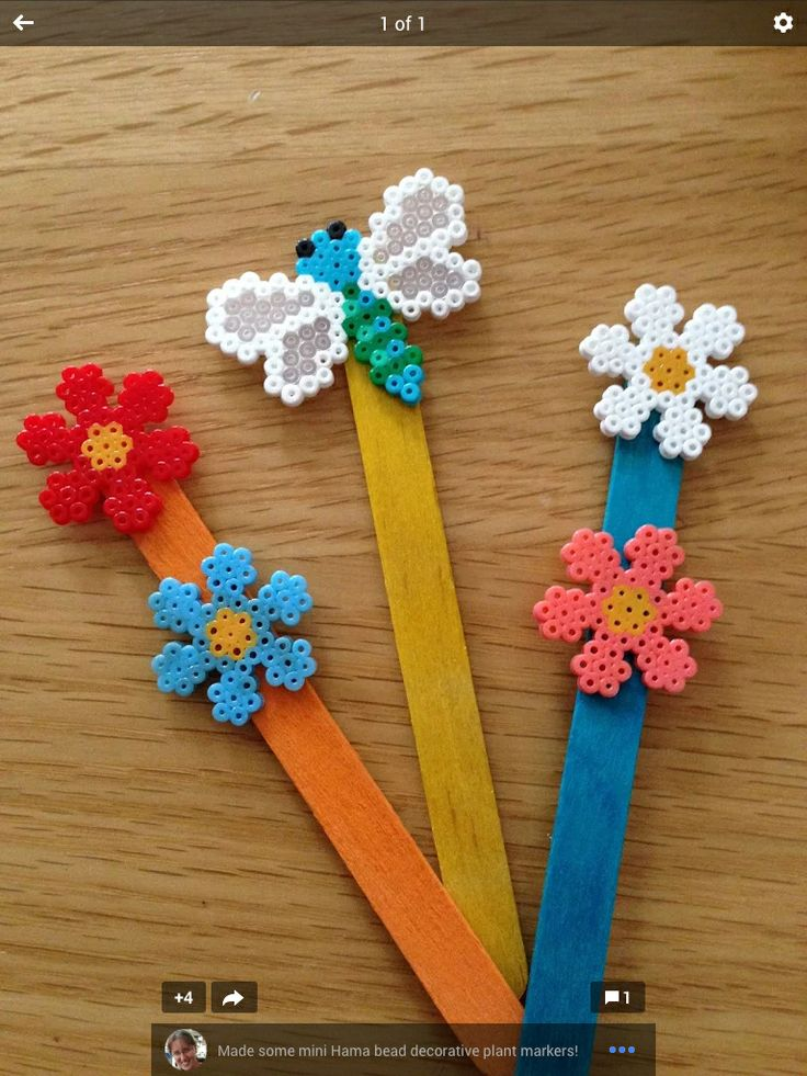 Hama bead lolly stick bookmarks