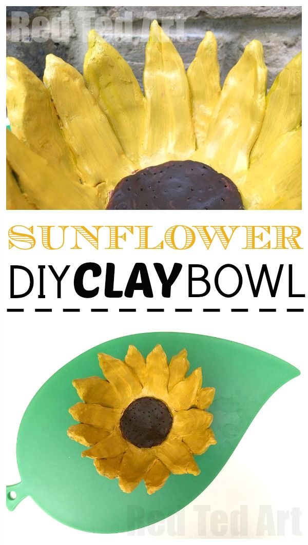 Wonderful DIY Sunflower Bowl - use air drying clay and this oh so simple method for making this lovely clay bowl. The sunflower makes a great Mother's Day gift