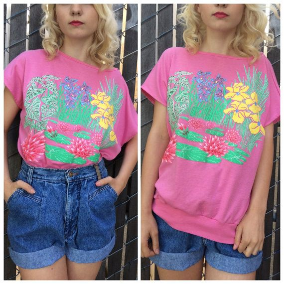 1980's pink meadow scene baggy t-shirt  by InTheYearVintage