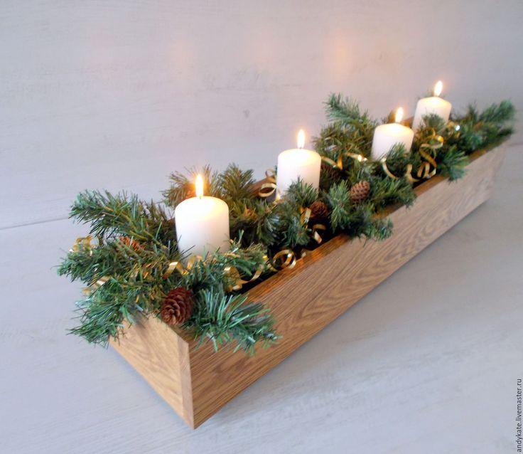 Купить Деревянный ящик из дуба для новогодних композиций - ящик, ящик для хранения, ящик из дерева