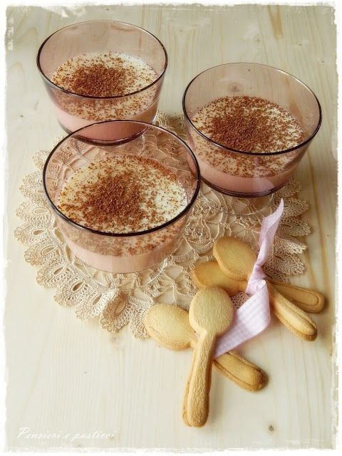Panna cotta with white chocolate and teaspoons of biscuit. #glass #bowl