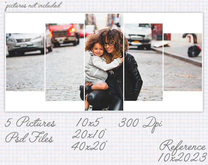 Plantilla foto collage storyboard 5x10 10x5 10x20 20x10 20x40 40x20 pulgadas apaisado y retrato (5 fotos / 1 foto) ref 10x20023 de JuanmiDesigns en Etsy