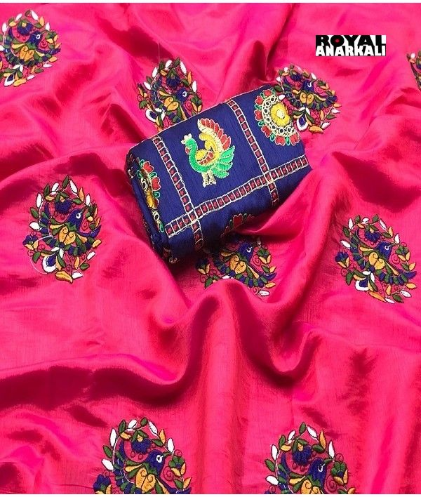 f6cde587fc238 Party wear Pink Sana Silk saree with Embroidered UN-stitch Blouse ...