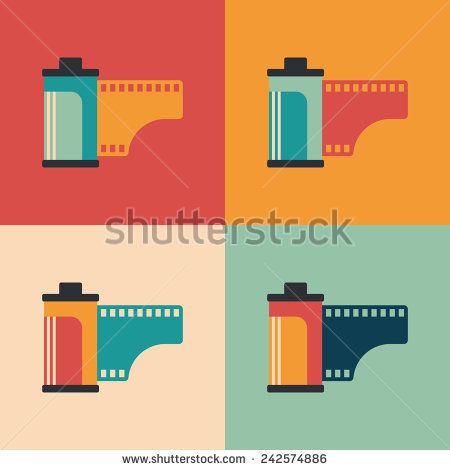Colorful set of camera film rolls. #retro #retroicons #flaticons #vectoricons #flatdesign