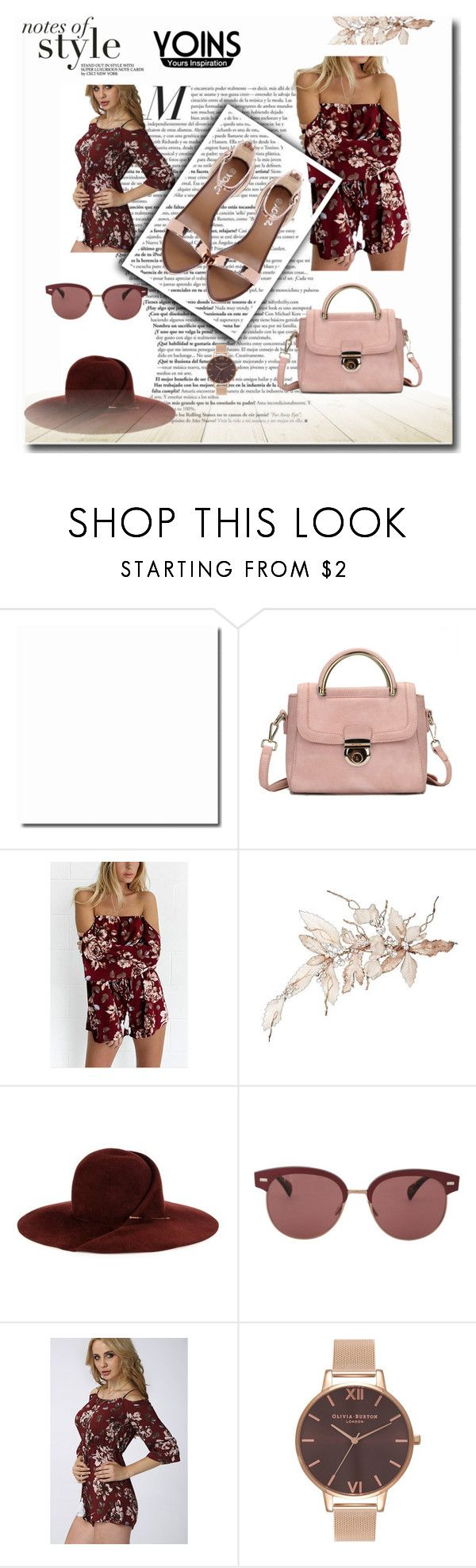 """""""Off shoulder Long Sleeve Playsuit"""" by arijanagetos55 ❤ liked on Polyvore featuring Eugenia Kim, Oliver Peoples, Olivia Burton, yoins and loveyoins"""