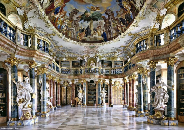 Wiblingen Abbey, once a Benedictine abbey, has since been transformed into housing medical facilities for the University of Ulm in Germany; this is a stunning shot of the abbey's beautiful library