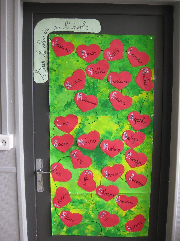 """déco de porte """"24 petites souris vont à l'école"""" (fond à l'éponge, cœur au poinçon)"""