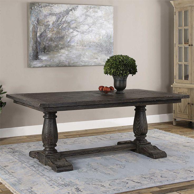 Black farmhouse trestle dining table dining table