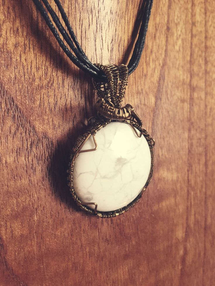 Howlite Crystal Round Wire Wrap Pendant ** Extrememly Calming** by EarthMamasCrystals on Etsy