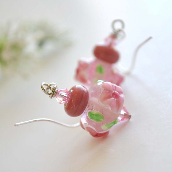 Pink Flowered Lampwork Glass Earrings by bstrung on Etsy, $25.00