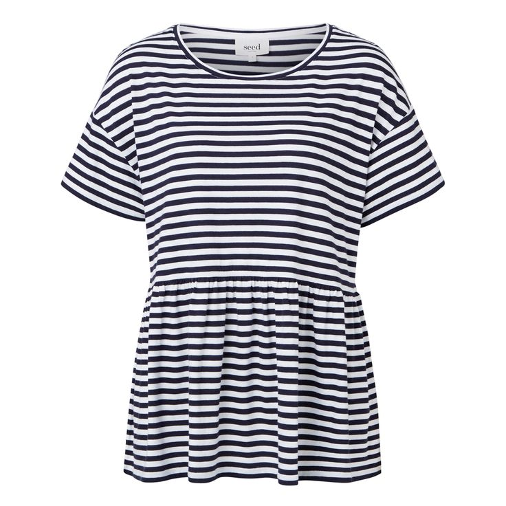 100% Cotton Oversized Peplum Tee. Comfortable loose fitting silhouette, features a scoop neckline, short sleeves and wide peplum hem. Available in Ink Blue/White Stripe and White as shown.