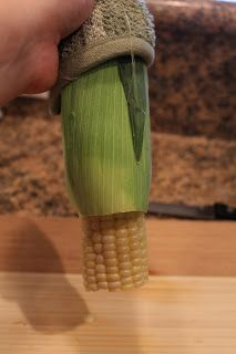 MOMMY ON DEMAND: How to shuck corn on the cob- I did each ear for 4 minutes and had to squeeze them out, but it worked. I did boil it more after that for about 7 minutes.