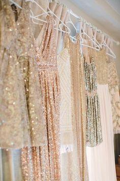 gold Sparkly Bridesmaids Dresses / http://www.deerpearlflowers.com/2015-wedding-trends-sequined-metallic-bridesmaid-dresses/