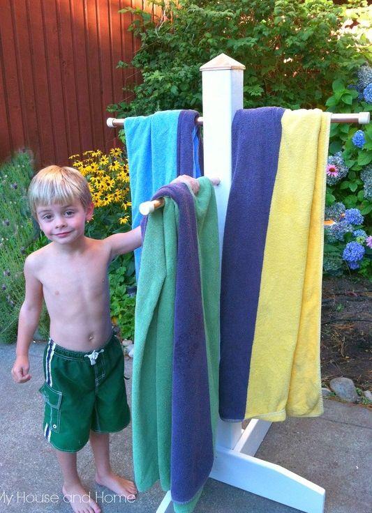 {DIY} Outdoor towel tree!