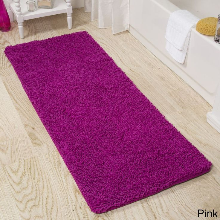 Memory Foam Shag Rectangle Pink Bath Mat with Non-Slip Backing 24 x 60 Inches #BathMat #MemoryFoam #FoamShag #CushionedMat #BathRug #DoorMat #Mat #Rug #SkidResistant #NonSlip #Home #Kitchen #Bathroom #Bath #SpotClean