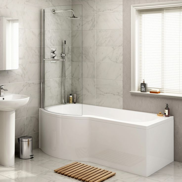 1700x850mm - Left Hand P-Shaped Bath with 4mm Screen, Rail & Front Panel (Excludes End Panel)