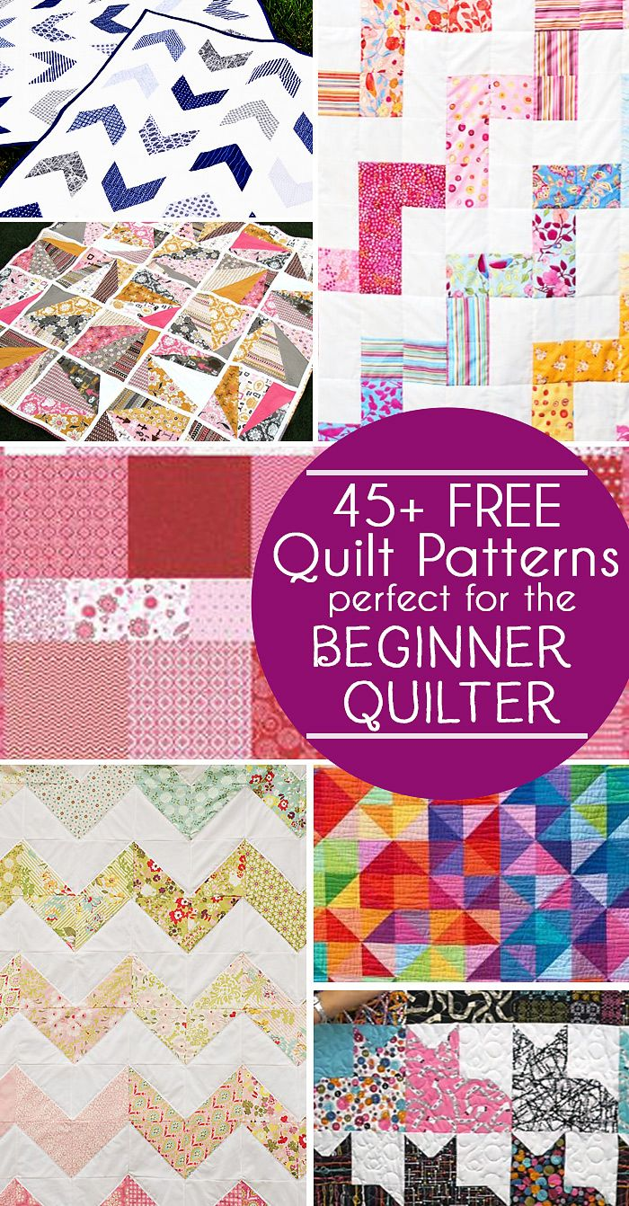 FREE-quilt-patterns-for-the-beginner-quilter posted by Jamie Sanders...Did you get a new sewing machine for Christmas?  Or maybe you're ready to dip your toe into the world of quilting?  If so, today's post is perfect for you!  I've rounded up 45 fabulously free quilt patterns to share with you today!