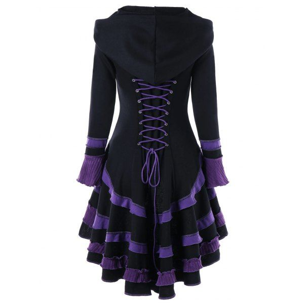 Wholesale Buckle Duffle High Low Lace-up Coat M Black Online. Cheap High Low Shirt And High Low Blouse on Rosewholesale.com