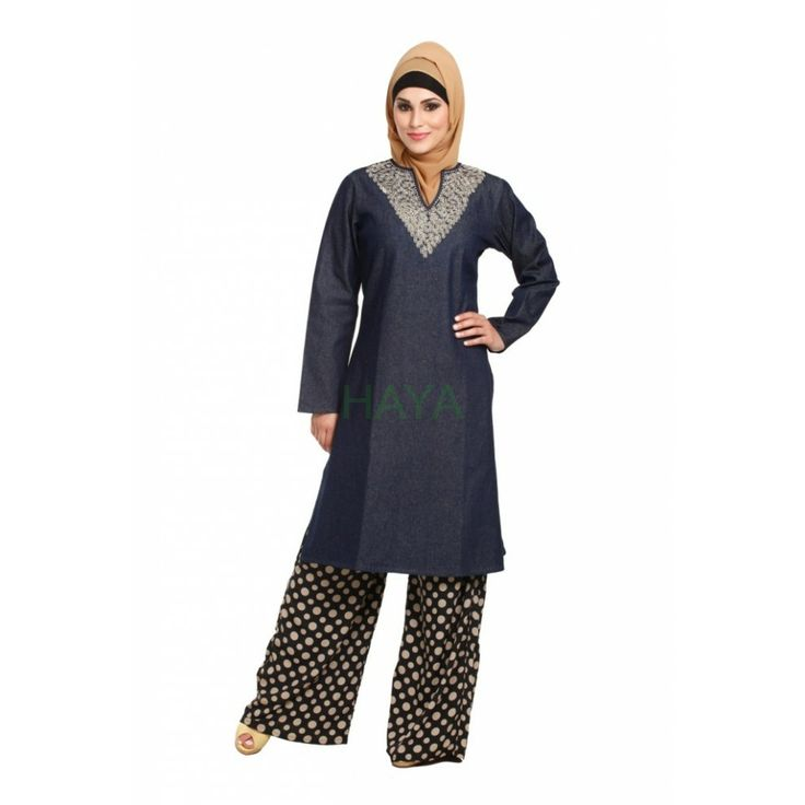 Modest tunic in light weight denim fabric beautified with silk thread embroidery. Available in two colors, blue or black for $35 @ http://www.hayaislamicclothing.com/Women/Tunic-Kurties-Tops/tunics-240-t