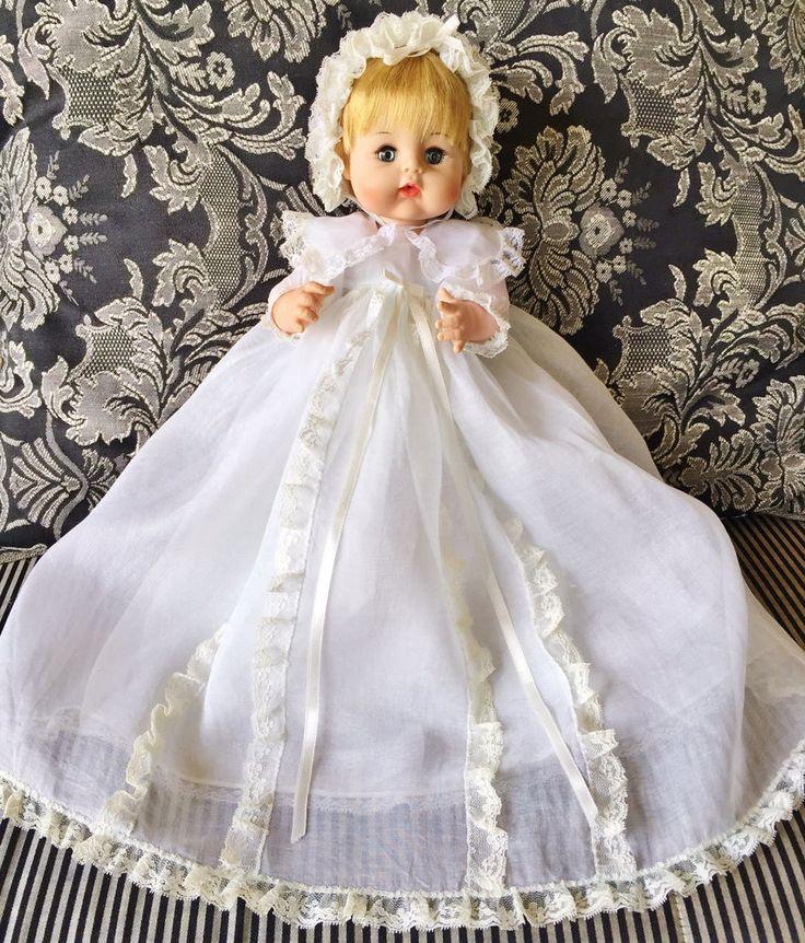 Vintage 1965 Madame Alexander SWEET TEARS Baby Doll Mint Christening Dress BOX #madamealexander #DollswithClothingAccessories