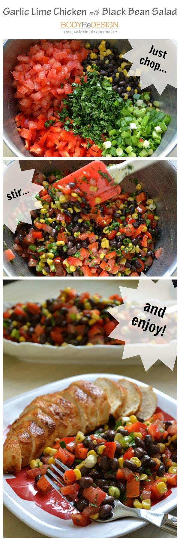 Black Bean and Corn Salad Recipe from https://bodyredesignonline.com/garlic-lime-chicken-with-black-bean-salad/
