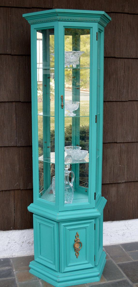 painted curio cabinet - wonder if I can do this with my husband's old display case…