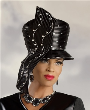 Donna Vinci Hat 2049  [DVH2049]    Waterfall Ribbon Dome Crown Black Hat. Faux leather fabric