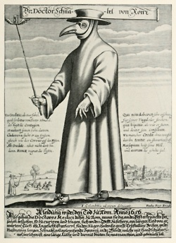 During the Bubonic Plague, doctors wore these bird-like masks to avoid becoming sick. They would fill the beaks with spices and rose petals, so they wouldn't have to smell the rotting bodies.                 A theory during the Bubonic Plague was that the plague was caused by evil spirits. To scare the spirits away, the masks were intentionally designed to be creepy.