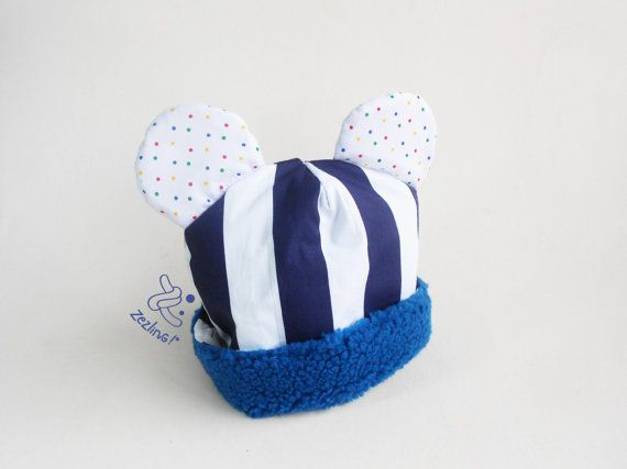 Baby Beanie  Baby hat with ears  newborn hat  Cotton by Zezling