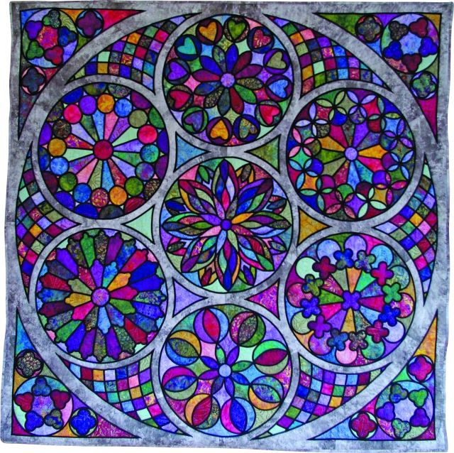 Celestial Light stained glass quilt by Evelyn Jago.  Viewer's Choice award. National Juried Show 2016 ~ Canadian Quilters' Association