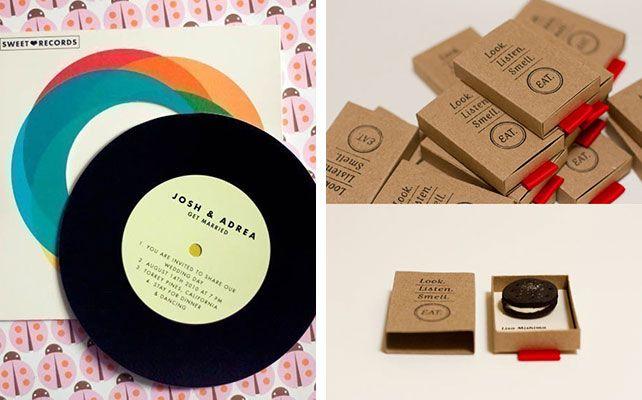 Вдохновение: 33 необычных приглашения, приглашение с пластинкой, приглашение с печенькой