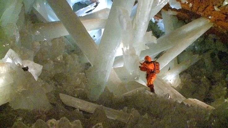 The Crystal Cave of Giants was accidentally discovered in 2000 by miners working in the silver and lead mine at Naica, Mexico. It lies almost 300 meters (900 feet) below the surface of the Earth