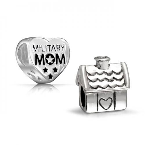 Bling Jewelry Patriotic 925 Silver Military Mom Heart House Bead Set Fit Pandora