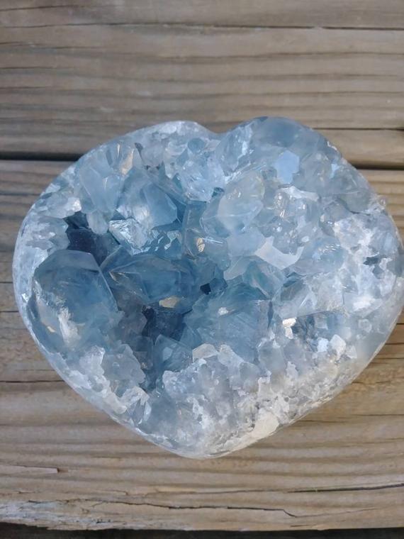 Large Blue Polished Celestite Heart Crystal 2 34 Lbs Crystals Crystals Gemstones Large Crystals