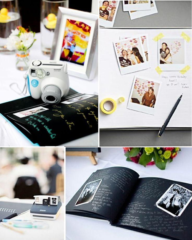Voici un exemple de livre d'or original pour votre mariage: le livre d'or polaroide, pour celà, il vous faut un Polaroid, du scotch et un petit mot qui précisera à vos invités de se prendre en photo, et d'écrire leurs vœux à côté de leur photo!