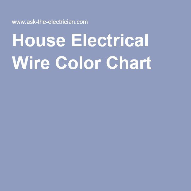 House Electrical Wire Color Chart