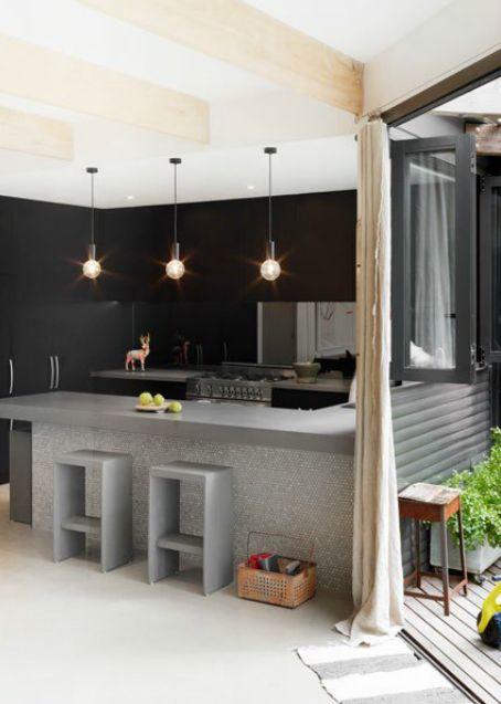 Black kitchen.  Image from Est Magazine.