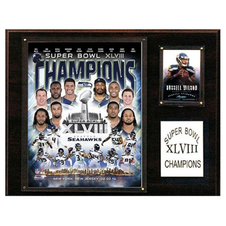 C and I Collectables NFL 15W x 12H in. Seattle Seahawks Super Bowl XLVIII Champions Plaque - 1215SB48