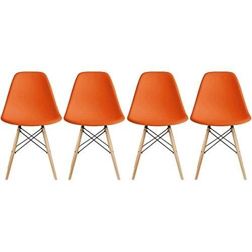Eames-Style-Side-Chair-Natural-Wood-Legs-Dining-Room-Set-4-Orange-Plastic-Seat