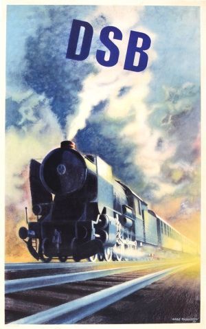 DSB Danish State Railways Steam Train, 1950 - original vintage poster by Aage Rasmussen listed on AntikBar.co.uk