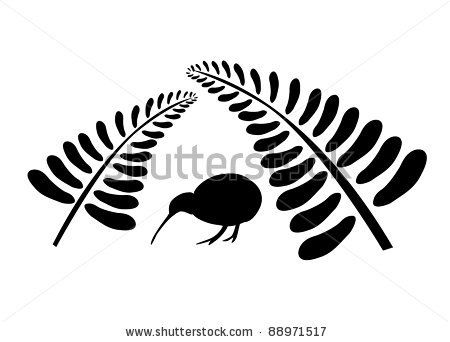 Small silhouette of a kiwi bird staying under two black ferns, symbol of New Zealand