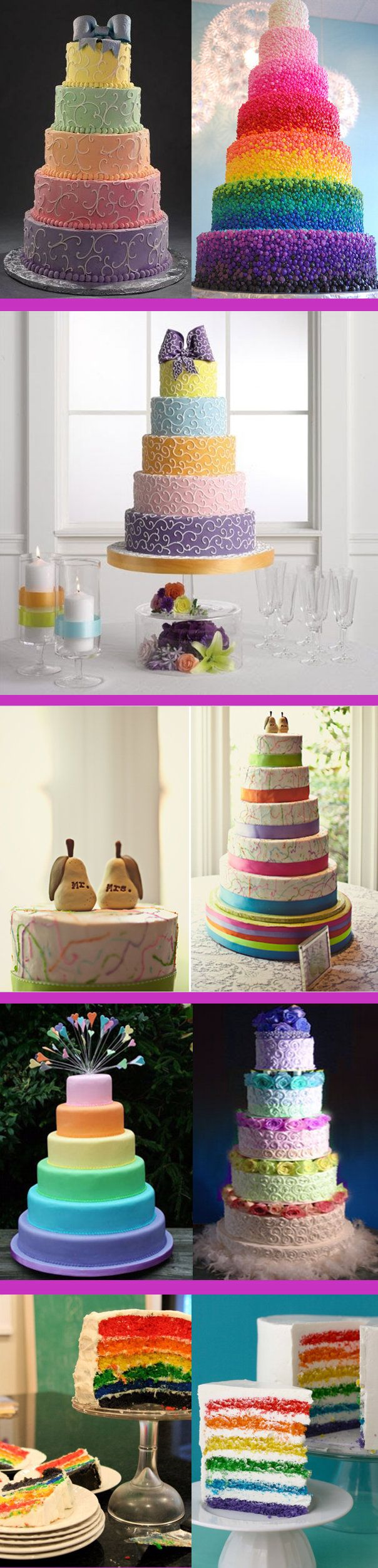Coolest compilation of tiered rainbow cakes I ever found!!! Great for any ocassion.