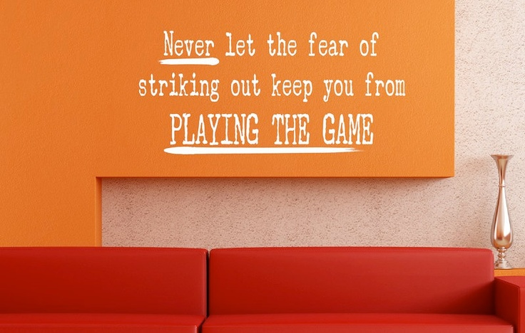 Wall Decal   Fear Of Striking Out   Wall Vinyl Sayings   Inspiration.  $19.99,