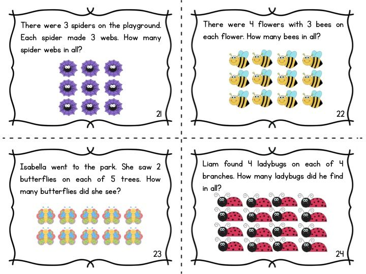 multiplication array task cards words word problems and