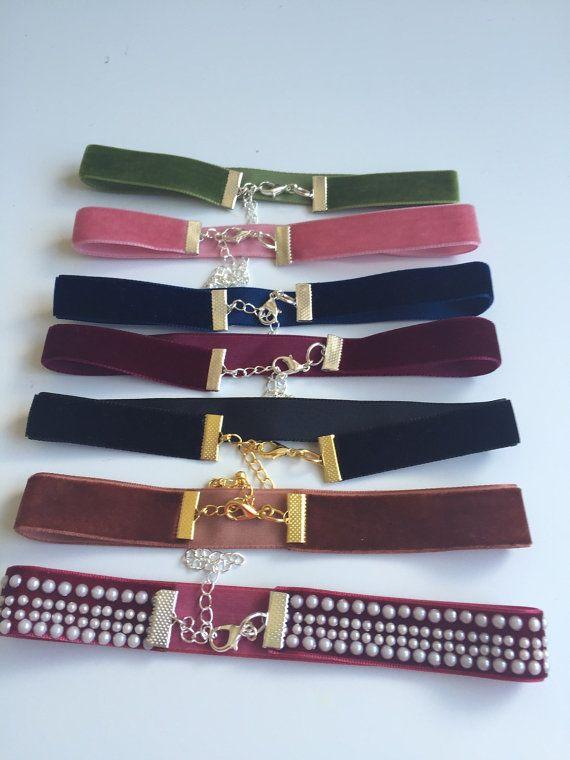 velvet choker necklaces 16mm by FashioneditStudio on Etsy