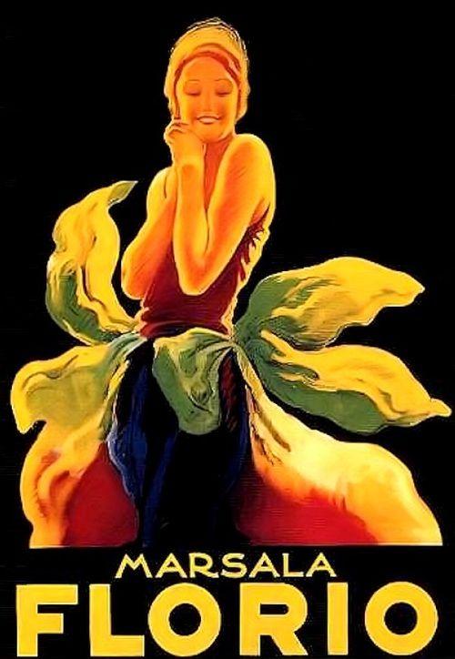 Italy. Marsala Florio  a smooth sweet Sicilian wine, 1925 //  Marcello Dudovich