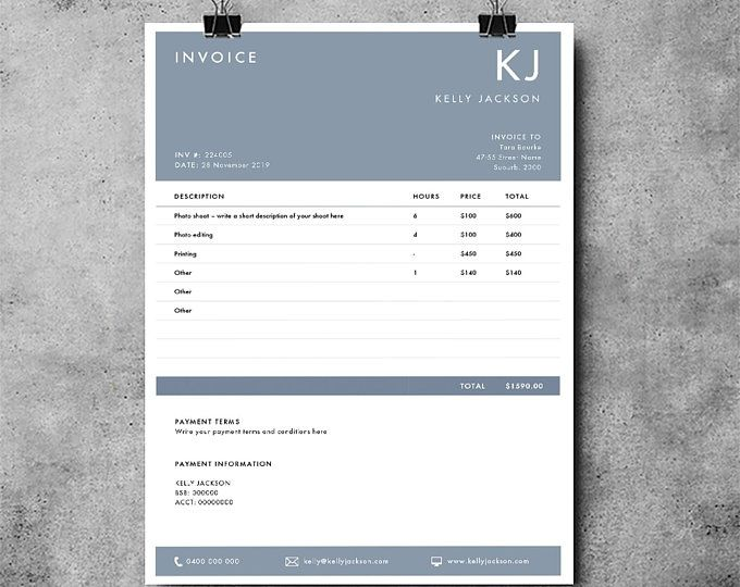Photography Invoice Template Photography Receipt Ms Word Etsy Invoice Template Photography Invoice Template Invoice Design Template