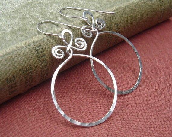 Big Hoop Sterling Silver  Earrings  With by nicholasandfelice, $ 22.00: Hoop Sterling, Wire Earrings, Sterling Silver Earrings, Spirals Twists, Silver Wire, Big Sterling, Silver Hoop Earrings, 22 00, Big Hoop