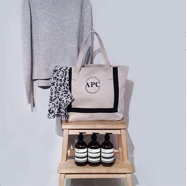 May 2014: A.P.C. tote bag and T-shirt.